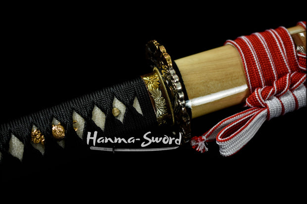 clay tempered battle ready  japanese samurai katana full tang balde kamasu kissaki sword #HM0004 - hanma-sword
