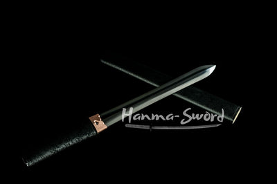 handmade japanese shirasaya ken tanto sword clay tempered full tang blade #HM0036 - hanma-sword