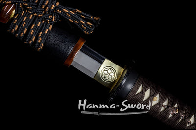 battle ready japanese samurai katana clay tempered L6 steel blade mokko-gata tsuba sword #HM0052 - hanma-sword