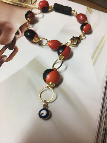 Bracelet of peonies, azabache and Turkish eye