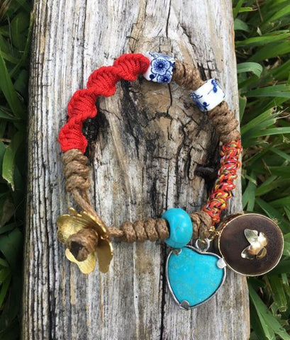 Turquoise heart bracelet and bull's eye