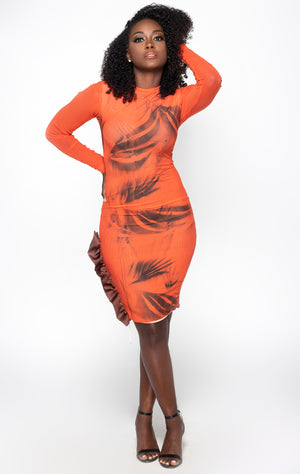 Leaf print mesh dress front view