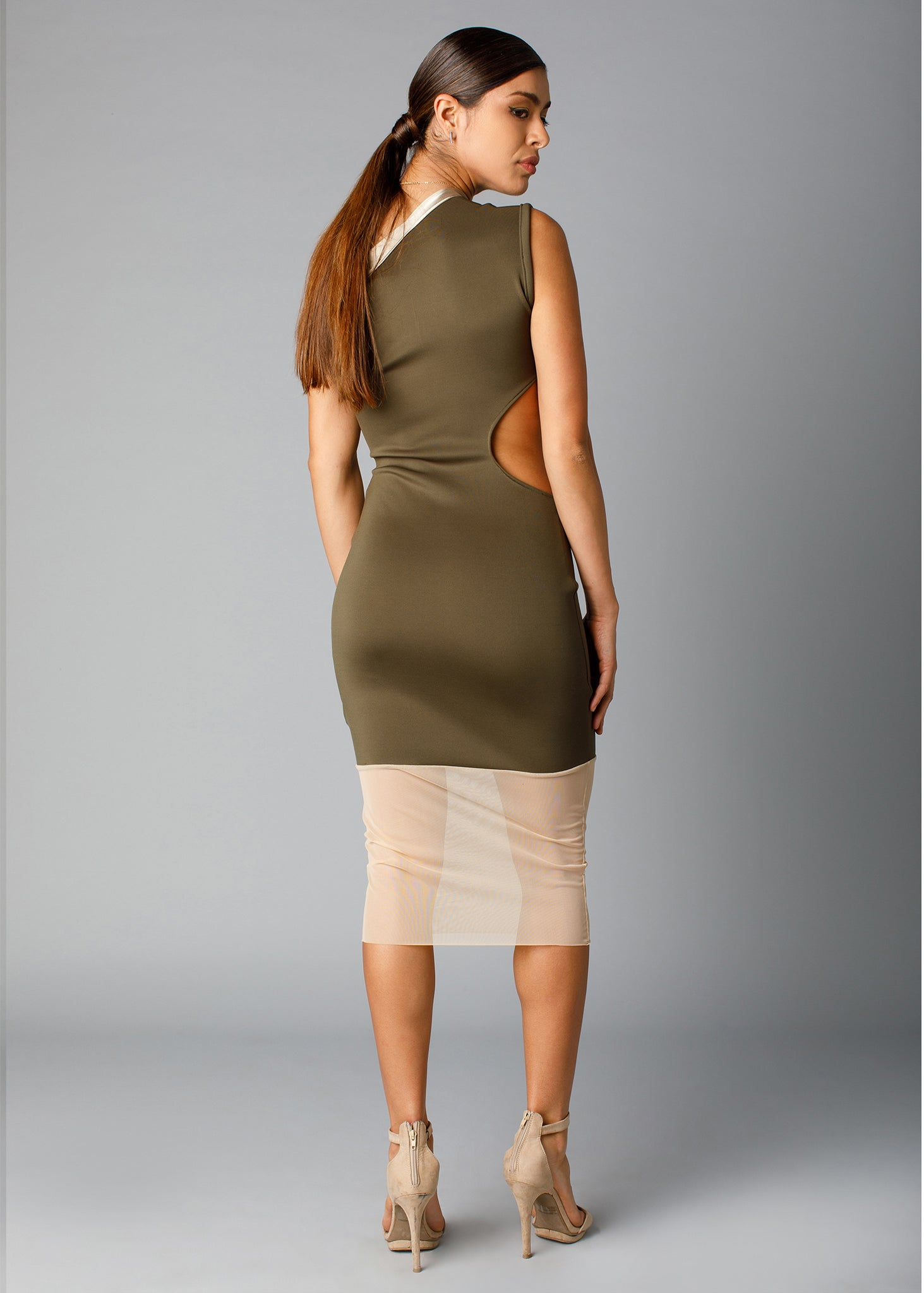 side cutout mid-length pencil dress back view