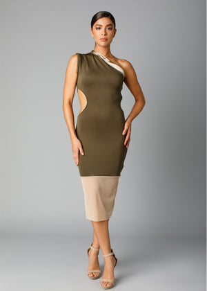 side cutout mid-length pencil dress