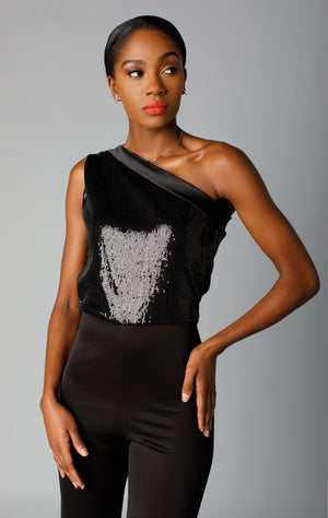 Sequin combo one shoulder jumper