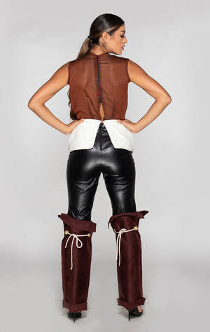 Joie combo pant, faux leather and suede with ropes back view