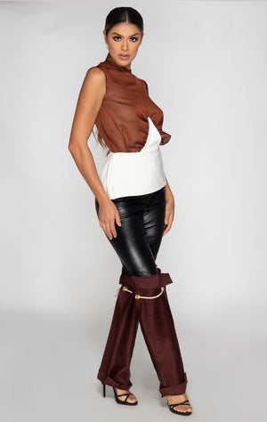 Joie combo pant, faux leather and suede with ropes