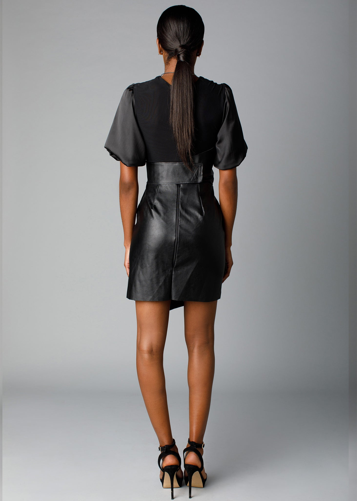 Vegan leather structured designed skirt