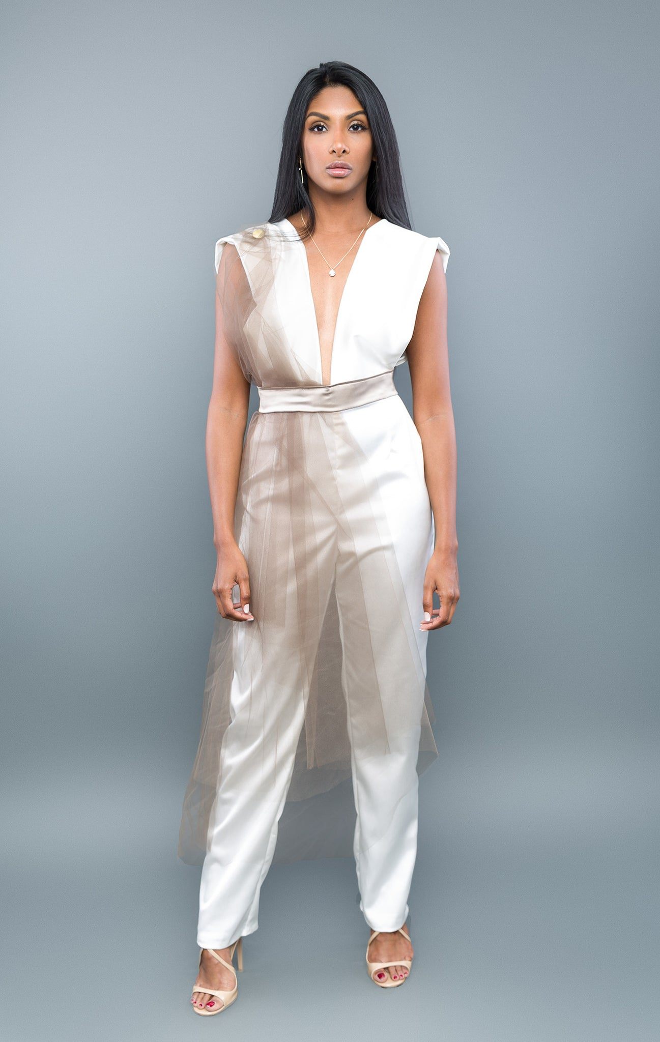 Risqué Jumpsuit - XS / Off-White/Taupe - S / Off-White/Taupe - M / Off-White/Taupe - L / Off-White/Taupe