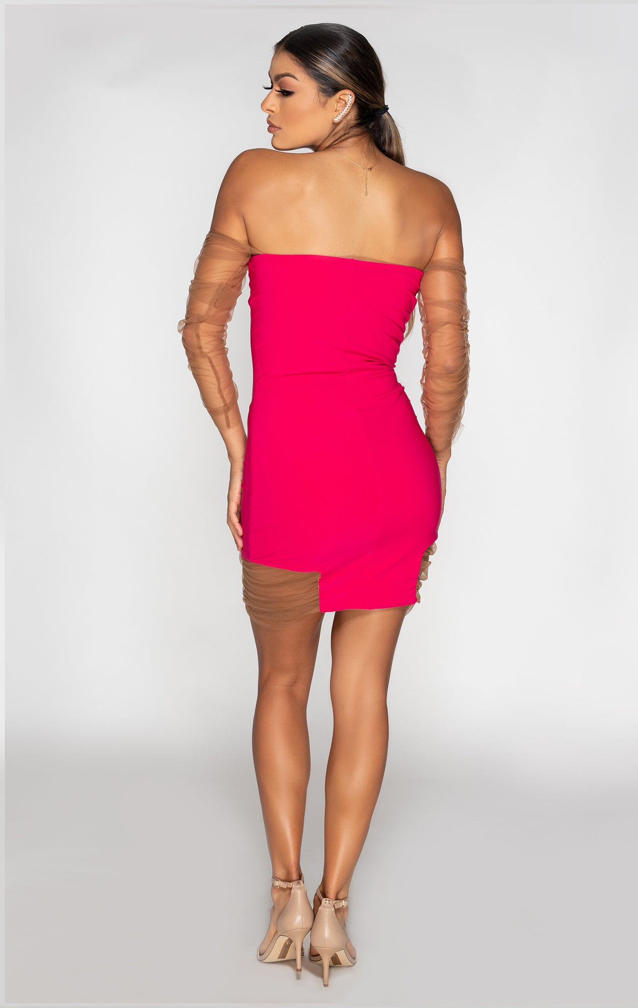 ruched mini dress with set in ruched long sleeves back view