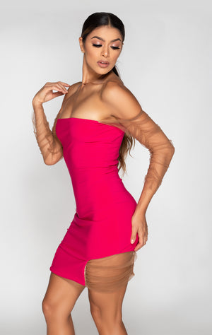 ruched mini dress with set in ruched long sleeves side view