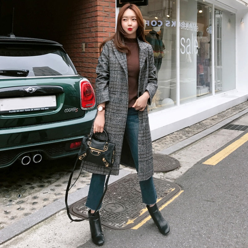 Long Wool Plaid Coat TOP418