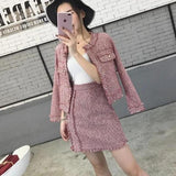 Tweed Tassel Single Breasted Jacket Coat + Fringe A Line Skirt Suits TOP406