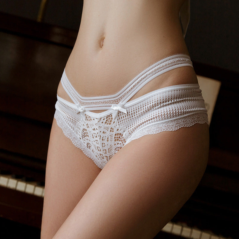Kawaii Full Lace Low-waist Cross Strap G String Hollow Panty TOP405
