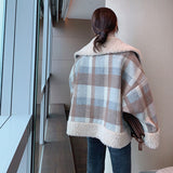 Vintage Brown Plaid Lambswool Coat TOP415