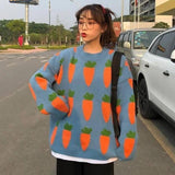 Kawaii Ulzzang Carrot Print Pattern Sweater TOP191