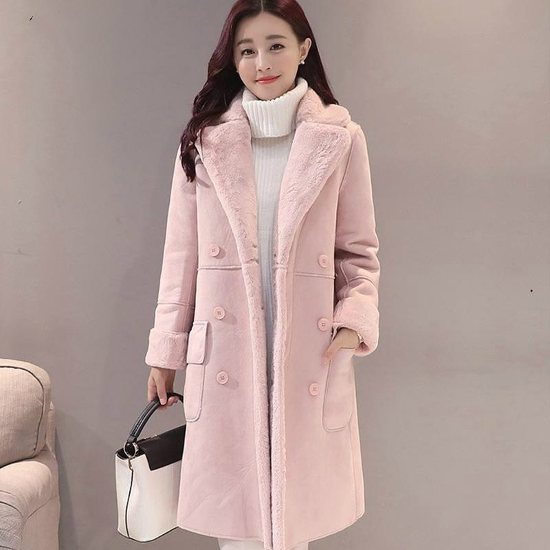 Long Suede Fur Coat TOP419