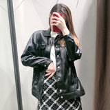 Vintage PU Leather Coat TOP417