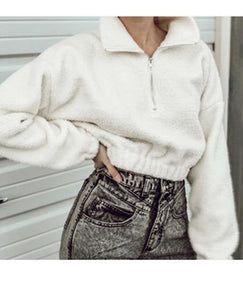 Zipper Cropped Sweater