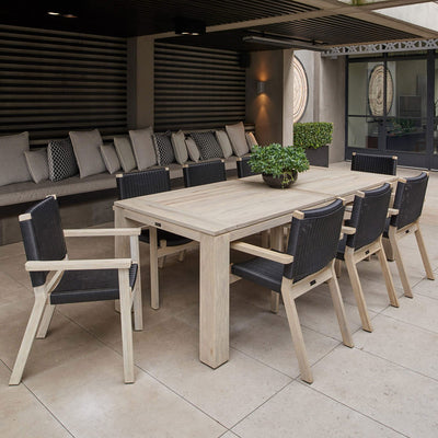 Bairo Dining Table Greywash Teak | Outdoor Furniture