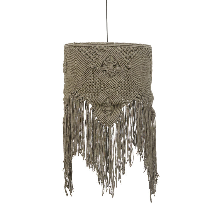 Balthazar Large Macrame Pendant in Charcoal Grey