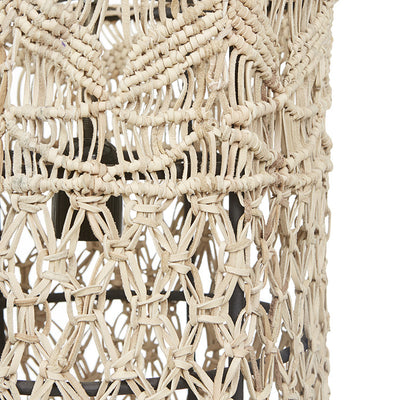 Balthazar Beige Leather Macrame Pendant