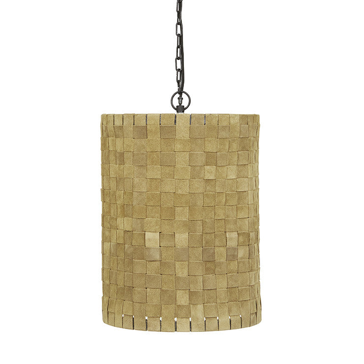 Balthazar Woven Suede Pendant in Olive Yellow