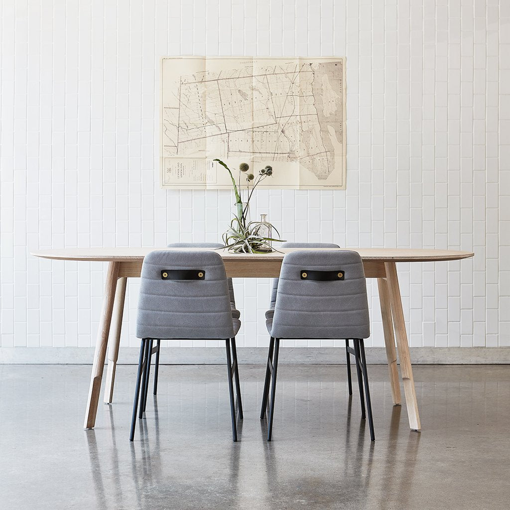 Bracket Oval Dining Table in White Wash Ash