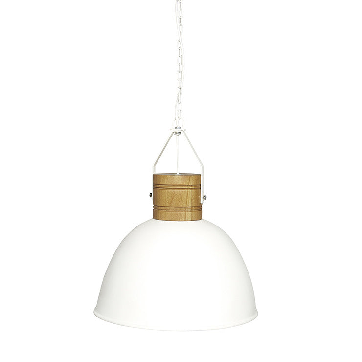 Brooklyn Loft Pendant in White/Teak