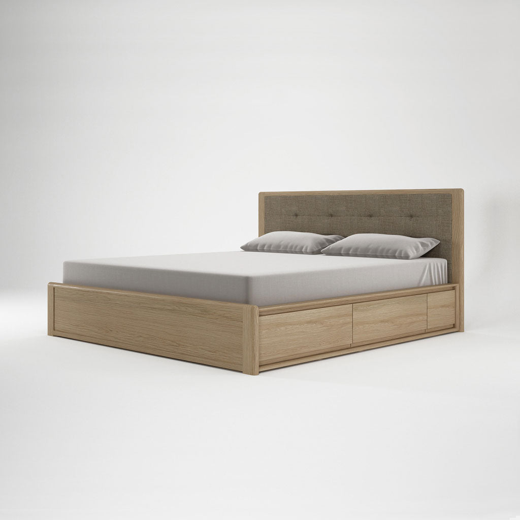 Karpenter Circa17 King Size Bed Fabric Headboard Oak