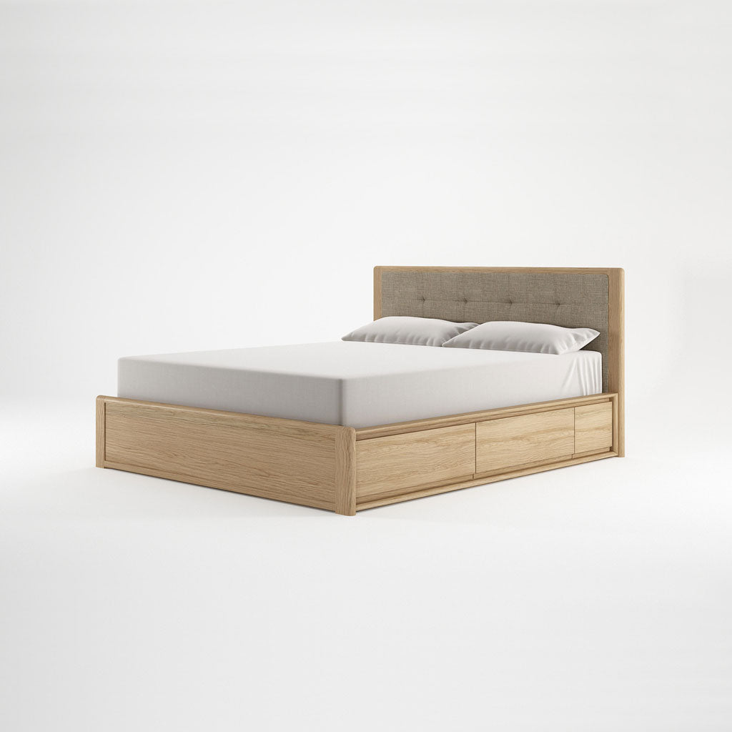 Karpenter Circa17 Queen Size Bed with Fabric Headboard Oak