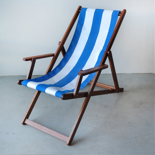 Deckchair with Arms (Ironwood) - Sunbrella Block Stripe Sling