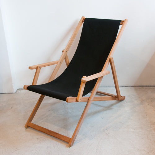 Deckchair with Arms (Teak) - Sunbrella Plain Sling