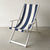 Deckchair with Arms (White) - Sunbrella Navy/Cream Block Stripe