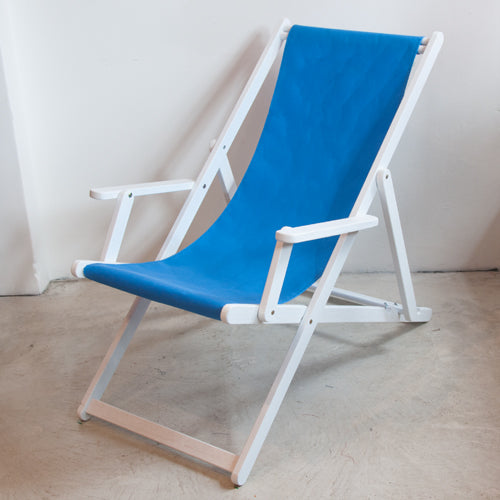 Deckchair with Arms (White) - Sunbrella Plain Sling