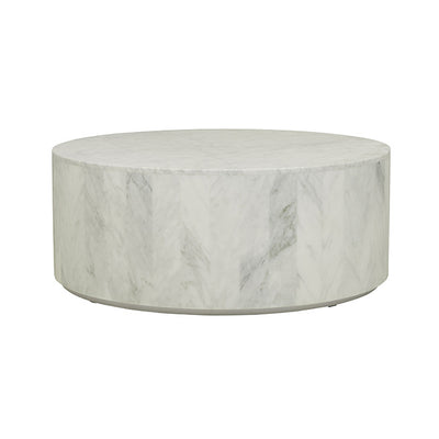 Elle Round Block Coffee Table in Matt White