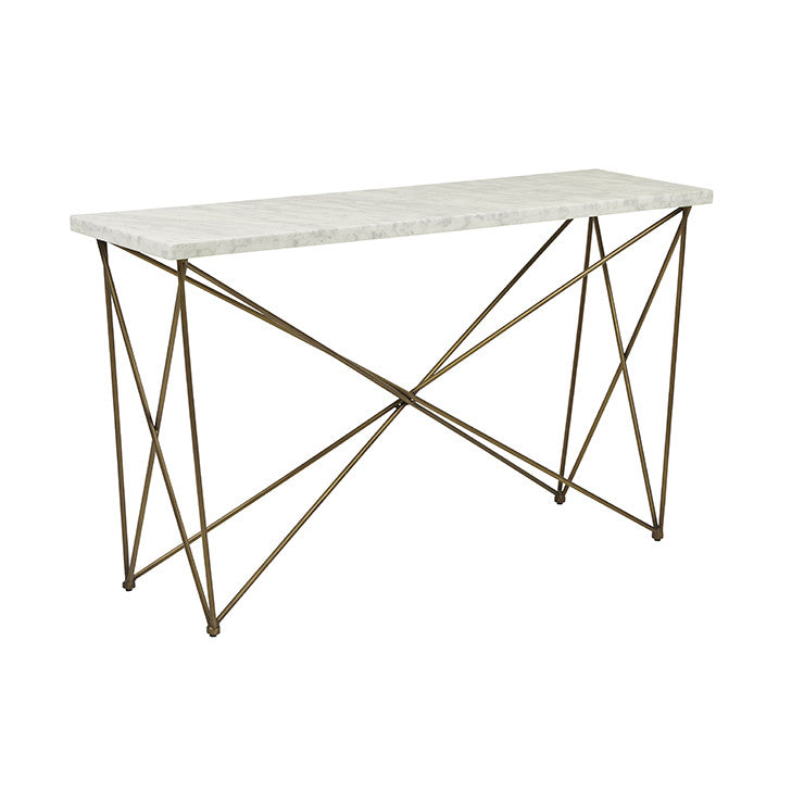 Globewest Elle Criss Cross Console in White/Brass