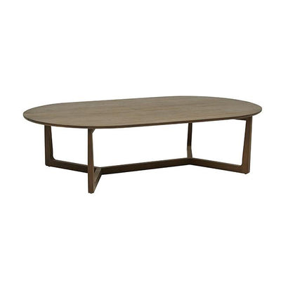 Geo Oval Coffee Table in Natural Teak