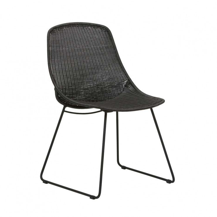 Granada Scoop Closed Weave Dining Chair - Licorice/Lava