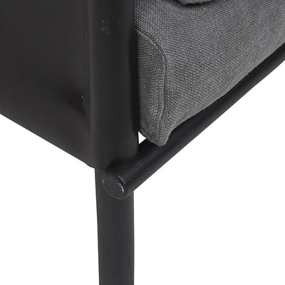 Ingrid Sofa Chair in Anchor/Black Leather