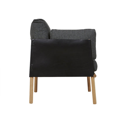 Ingrid Sofa Chair in Graphite/Black Leather