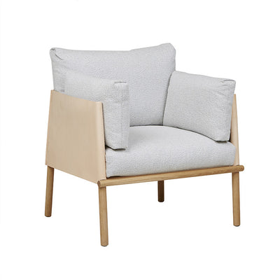 Ingrid Sofa Chair in Snow/Tan Leather