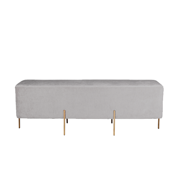 Lucienne Rectangle Ottoman in Dove Grey Velvet