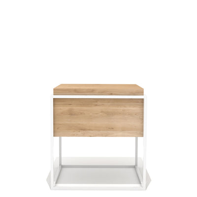 Oak Monolit Side Table - Medium in Natural Oak & White