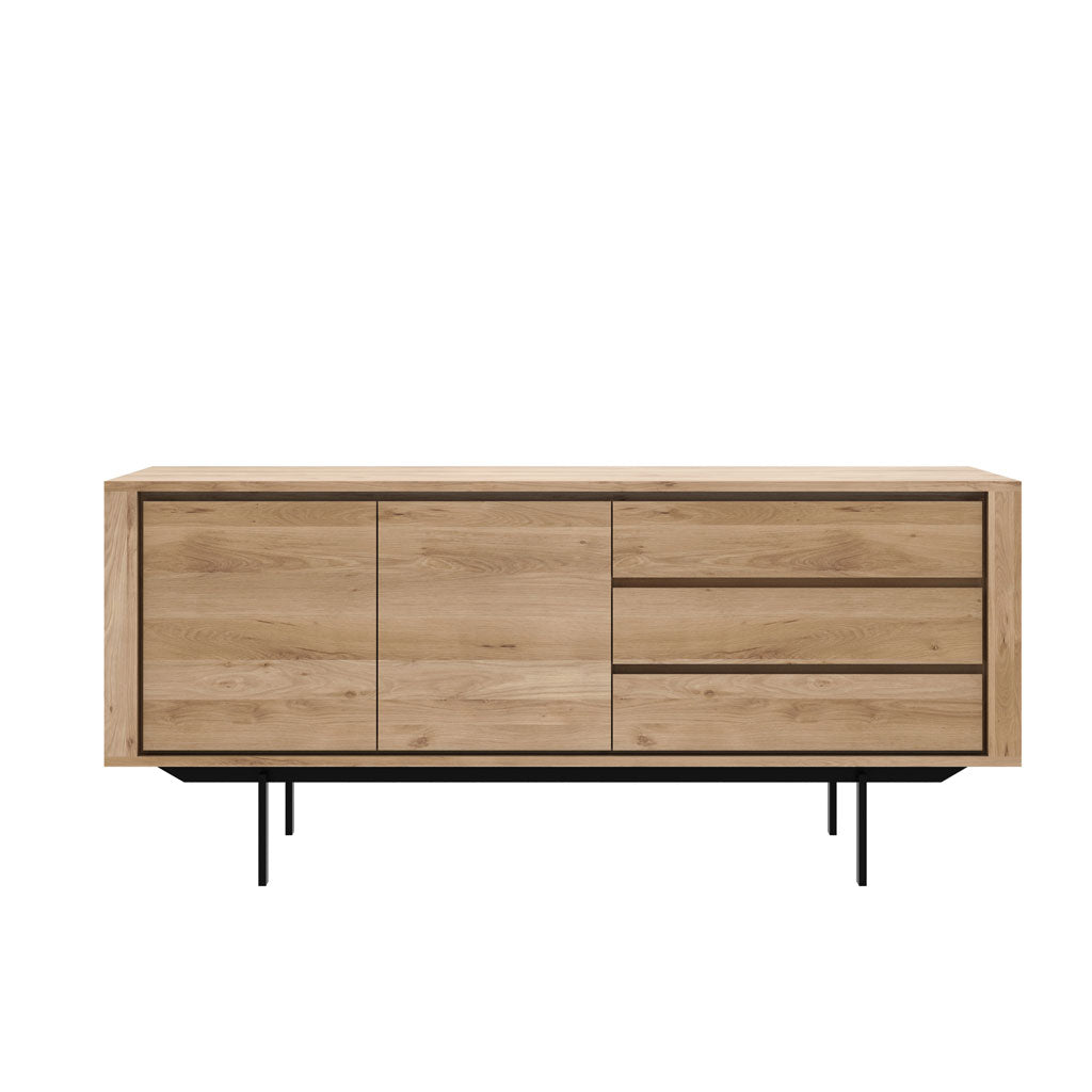 Oak Shadow Sideboard 2 Doors 3 Drawers - Black Frame
