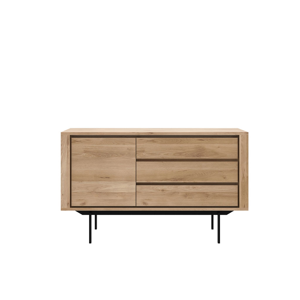 Oak Shadow Sideboard 1 Door 3 Drawers - Black Frame