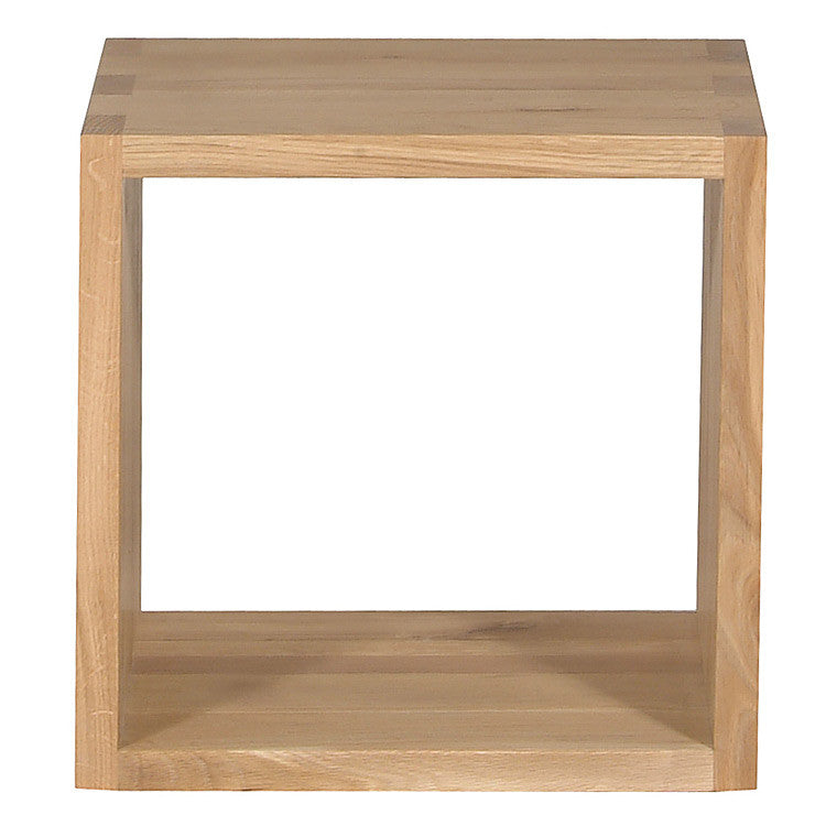 Oak Cube Closed Side Table