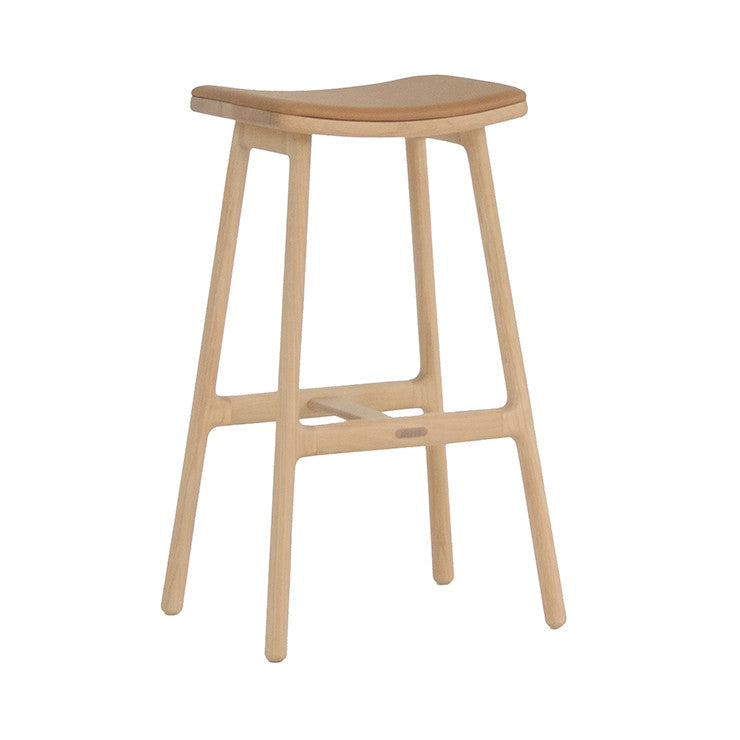 Odd Leather Barstools in Camel/Light Oak