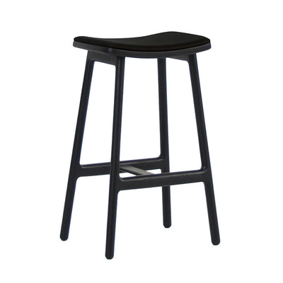 Odd Leather Barstools in Black/Black