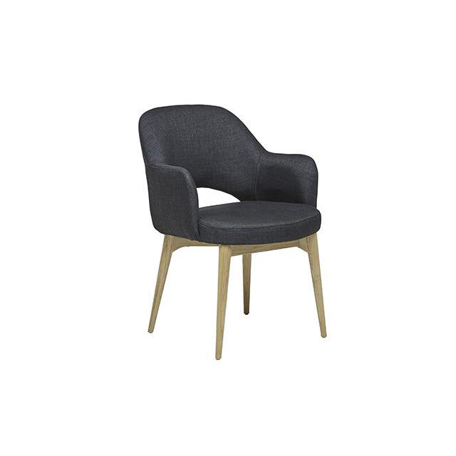 Oscar Timber Leg Armchair in Soot